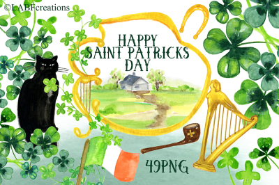 Happy Saint Patricks Day Watercolor