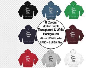 Transparent PNG Hoodie Mockup Bundle, Gildan 18500 Flat Lay Mock Up