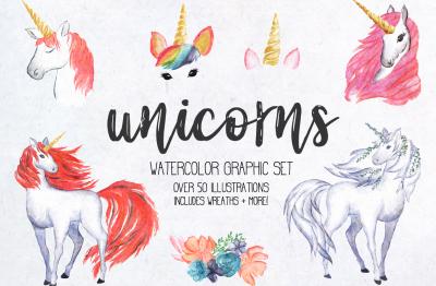 Unicorn Watercolor Design Kit