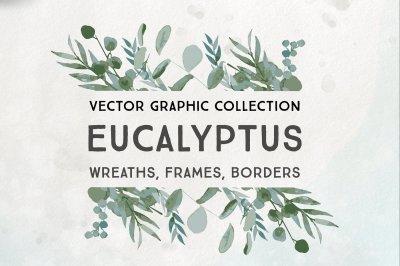 Vector Eucalyptus Wreaths, Frames, and Borders