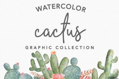 Watercolor Cactus Design Pack