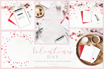 Valentine's day mockups & styled stock photos bundle