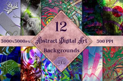 Abstract Digital Art Backgrounds - 12 Image Set