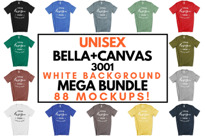 Unisex Bella Canvas 3001 T-Shirt Mockup Bundle On White Background