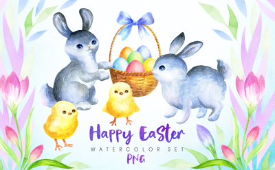 Happy Easter. Watercolor clip arts and seamless patterns