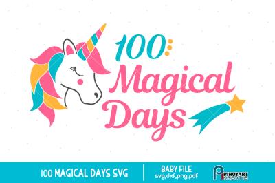 100 Magical Days svg, Baby 100 days svg, Baby svg, Unicorn svg, svg