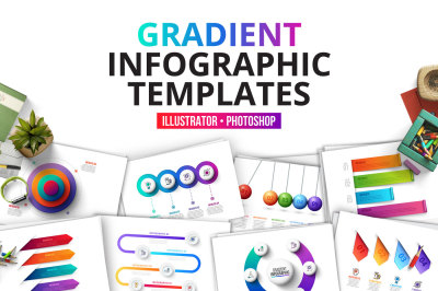 Gradient infographics templates