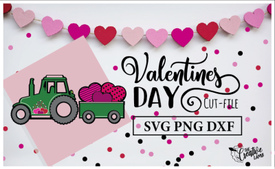 Valentine Cut-File Tractor SVG Holiday File