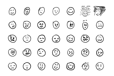 Sketch of hand drawn set of cartoon emoji.