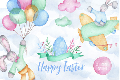 Happy Easter - watercolor clipart