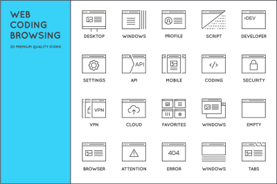 Awesome Editable Web Coding Browsing Icons