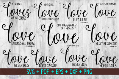 Love Sayings Bundle, 11 Love svg files,  1 corinthians 13