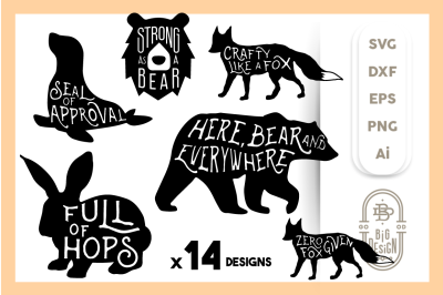 Animal SVG Bundle - 14 Animal Quotes, Sayings and Puns