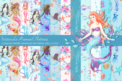 Watercolor Mermaid Patterns