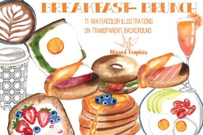 Breakfast /  Brunch watercolor illustrations