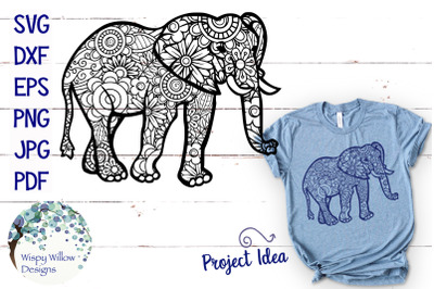 Elephant Zentangle SVG