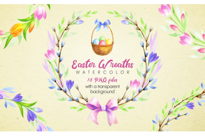 Easter Wreaths. Watercolor clip arts