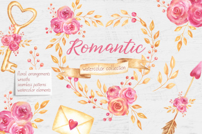 Romantic and Valentines Day Watercolor Collection