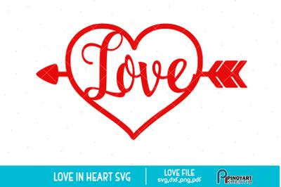 Love Heart svg, Love svg, Valentine Heart svg, Love Arrow svg