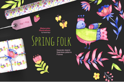 Watercolor spring folk