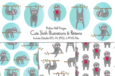 Cute Sloth Illustrations & Patterns
