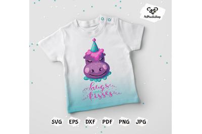 Cute Baby Hippopotamus Kawaii Clipart svg
