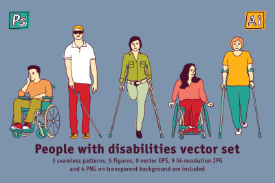 People with disabilities vector set