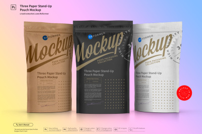 Download Kraft Paper Bag With Label Mockup Half Side View Yellowimages
