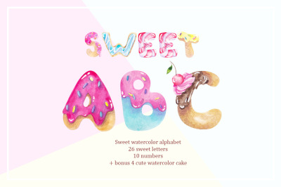 Sweet abs. Watercolor alphabet