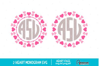 Heart Monogram Frame svg, Heart svg, Valentine Heart svg, svg file
