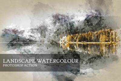 Landscape Watercolor Photoshop Action