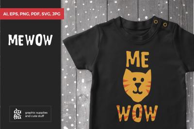 Mewow Cat SVG, Cat T-shirt, Scandinavian Nursery