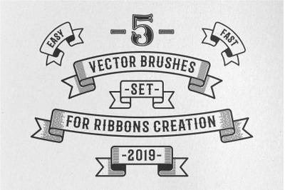 Vintage Ribbon Vector Brushes