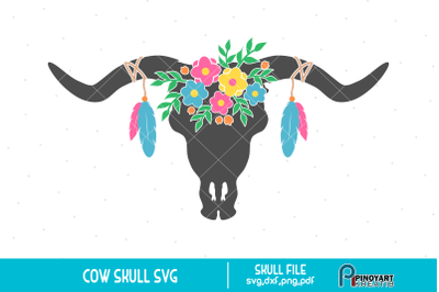 Cow Skull svg, Bull Skull svg, Boho Flower svg, Cow Clip Art, svg file