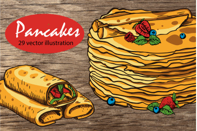Russian pancakes. Vector