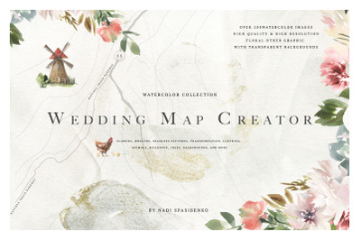 Watercolor Wedding Map Creator