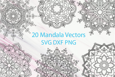 20 Mandala Vectors SVG DXF PNG - For Crafters