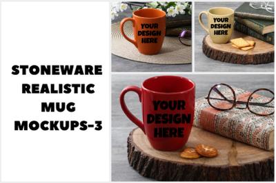 Realistic Stoneware Mug Mockups - 3