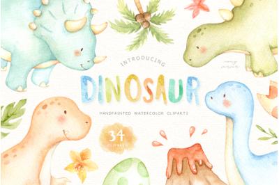 Dinosaur Watercolor Clip Arts