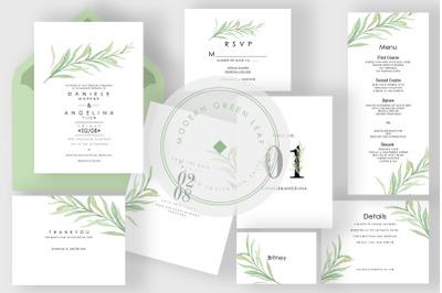 Modern Green Leaf Wedding Invitation Suite