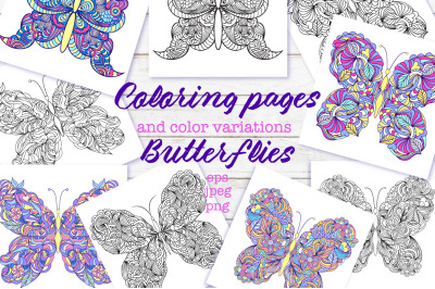 Floral butterflies.Coloring pages.