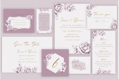 Rose Gold Wedding Invitation Suite