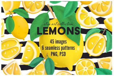 Lemons clip art collection