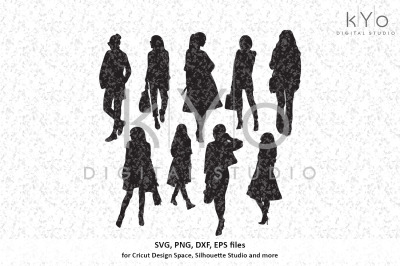 Fashion Lady Business Woman silhouettes svg png dxf eps vector files