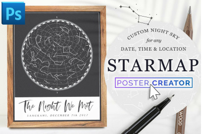 STARMAP Constellation Poster Creator (Time, Date, Location)