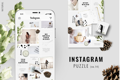 Instagram PUZZLE template - Natural