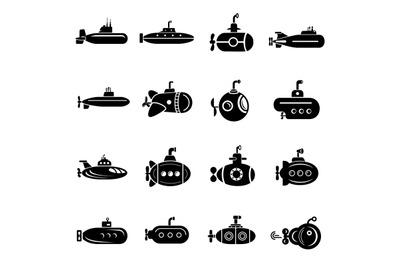 Submarine icons set, simple style