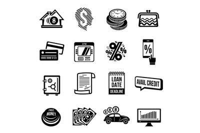 Loan credit icons set, simple style