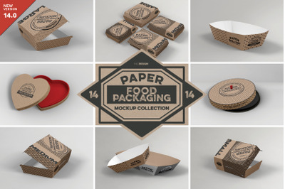 Vol 14: Paper Food Box Packaging Mockups