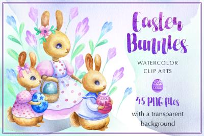 Easter bunnies. Watercolor set